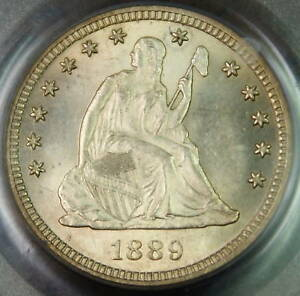 1889 Seated Liberty Silver Quarter, PCGS MS-64+