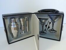 Franmara Martini Travel Bar Set Stainless Steel Cocktail Shaker Glasses Case
