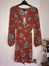 Lipsy Size 8 Tobaco Print Wrap Dress Floral Long Sleeve BNWT