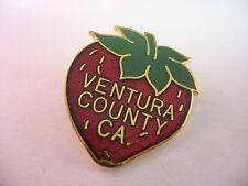 Rare Beautiful Red Enamel VENTURA COUNTY CALIFORNIA Strawberry Lapel Hat Pin