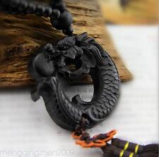 Wood Carving Decoration Dragon Car Pendant Tassel Ornament Lucky Amulet Hanging