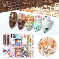 10Rolls Newspaper Nail Foils Nail Art Transfer Stickers Paper Nail Tips Decors