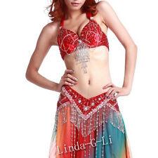 New Belly Dance 2 Pics Costume Bra +Belt US34B 36B 38B 40B US36D 38D 40D 11/345