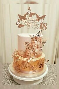 Rose Gold Birthday Cake topper Decoration Butterfly Birthday Glitter card
