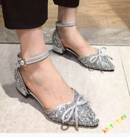 Prom New Women's Wedding Ballet Flats Rhinestones Buckle Sandals Pointed Shoes