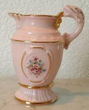 kleiner Sahnegießer Milchkanne Fischhenkel Colour Porcelain Chodov Blumen rosa
