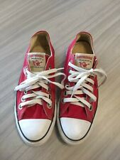 True Religion Red Canvas Low Top Casual Fashion Sneakers Size 7