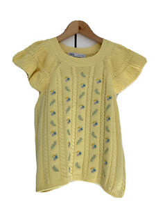 Zara, Knitted Top, With Embroidered Flowers, Lemon Yellow, Size M