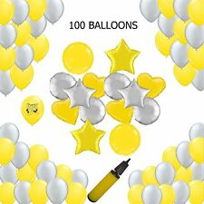 Yellow and Grey Party Supplies Balloons Explosion 100 count Mylar and Latex F...