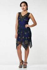 Gatsbylady Emma Flapper Dress Navy Blue Size 10 Womens Dress *REF51