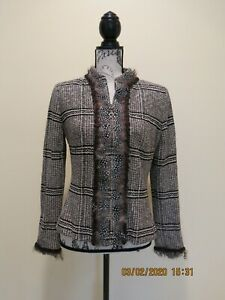 ST JOHN COUTURE KNIT WOOL-BLEND BROWN TWEED JACKET BLAZER SZ 8
