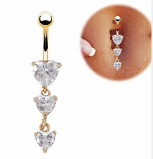 Rhinestone Belly Button Ring 3 Heart Cubic Zirconia Dangle Charm Stainless Gold