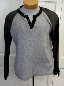 BDG Henley Shirt Size L Large Long Sleeve Thermal Knit Gray Men's EUC
