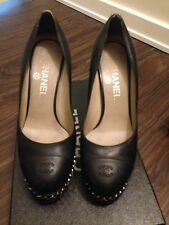 Chanel pumps with sliver chains 37.5 71/2 black