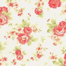 MODA Fig Tree & Co Farmhouse Rose Flower Bouquet on Ivory Cotton Fabric - FQ