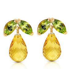 3.4 Carat 14K Solid Gold Stud Earrings Peridot Citrine
