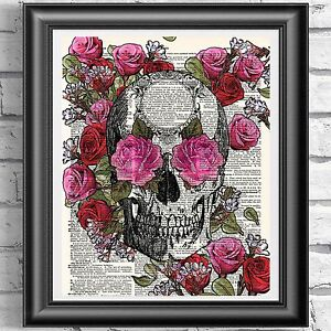Original ART Print DICTIONARY ANTIQUE BOOK PAGE Skull Red and Pink Roses