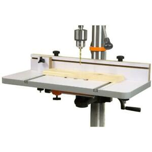 WEN Drill Press Table 24 in. x 12 in. Adjustable Fence Stop Block Onboard Rulers
