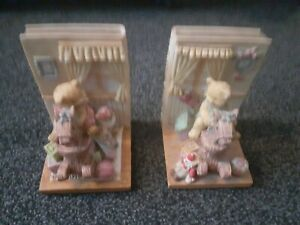 2x Playtime Teddies Bookends - Bears Sat On Rocking Horses. Collectible Items.