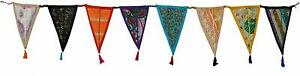 Vintage Recycled Cotton Fabric Bunting Tea Party Flag Multicolor Boho Garland