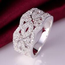 925 Sterling Silver Charm Ring Beautiful Women Lady Costume Jewellery Size Q