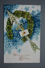 R&L Postcard: Christmas Envelope Flower Arrow Forget Me Not Embossed, SPC