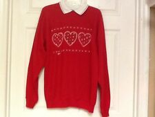 Womens top size XL red Holiday Hearts heavy material acrylic Cabin Creek  113