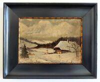 Huile sur panneau de carton Paysage enneigé, chalet, montagne