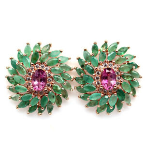 NATURAL 5 X 7  mm. PINK MYSTIC TOPAZ, EMERALD & CZ 925 STERLING SILVER EARRINGS
