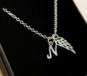 Angel Wings Necklace Pendant Personalised Any Letter Initial Memorial Jewellery
