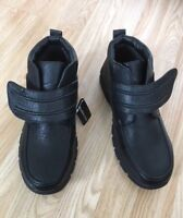 NEW Men Fur Lined Orthopedic Diabetic Black Touch Fastening Walk Boots Shoe Size