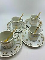 Vintage 80s White and gold Porcelain cappuccino set 4 cup saucer & gold Spoons!