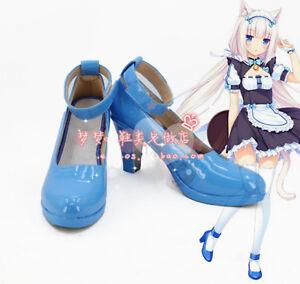 Nekopara Chocola Vanilla Cat Maid Shoes Cosplay Blue Shoes