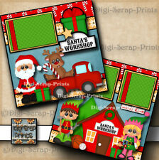 SANTA'S WORKSHOP ~ 2 premade scrapbook pages layout CHRISTMAS DIGISCRAP #A0160