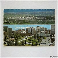 Adelaide Greetings View from Mt Lofty Kiosk Victoria Square Postcard (P448)