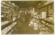 RPPC NY Lowville 1914 Grocery Store Interior sent to Poland Lewis County