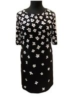 Precis Monochrome Floral Tunic Dress Size 18 Womens Midi 3/4 Length Sleeves