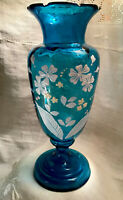 Victorian Antique Blue Glass Vase-White Enamel Flowers -Hand Blown & Painted-EUC