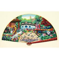 Counted Cross Stitch Kit  GARDEN FAN Oriental Geisha Dimensions Gold Collection