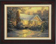 Thomas Kinkade Christmas Cottage 25.5x34 LE Canvas S/N # 27 Burl Frame