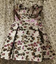 Cute Grey & Pink Metallic Mini Dress sz 10 'Miss Real' Net Petticoat Fun