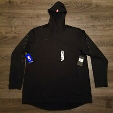 HOUSTON ROCKETS NBA Nike Long sleeve hoodie Shirt Triple Black Mens 2XL XXL