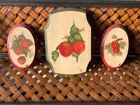Antique Primitive KITCHEN WALL ART Handpainted Apple & Strawberry SET 3 ❤️sj17j