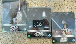 STAR WARS: A NEW HOPE +EMPIRE STRIKES BACK +RETURN OF JEDI 4K+Blu-ray Steelbook