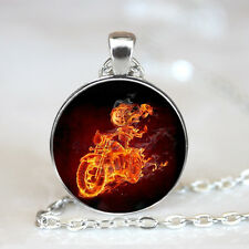 Motorcycle Flame skull Glass Dome Tibet silver Chain Pendant Necklace,Wholesale