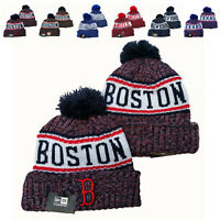 Embroidered MLB Team Logo Pom Pom Skull Beanie Cap Winter Warm Basketball Hat