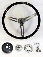"1969-1993 Buick Skylark GS Black Wood Steering Wheel 15"" High Gloss SS spokes"