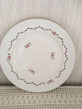"""ancien plat rond en faïence """" l'amandinoise """", décor petites roses et dorures"""