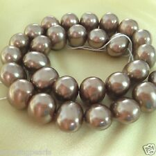 16mm Side Drilled Oval Chocolate South Sea Shell Pearls Loose Beads Strand