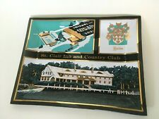 Vintage 1950's ST CLAIR INN and COUNTRY CLUB Smoke Glass TRAY Candy Dish MI MCM